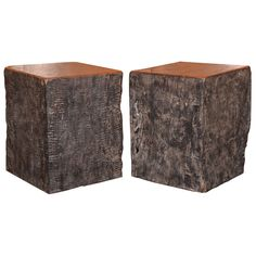 """Lychee wood solid black organic end table. 19.5""""H x 16""""W."""