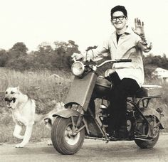 """pinkeye-private-i: """" Roy Orbison on his Cushman Scooter, with possibly his dog c. [All Things Roy Orbison] """" Rock Roll, Rockabilly, I Roy, Rock Family, Travelling Wilburys, American Bandstand, Roy Orbison, Steve Perry, Scooter Girl"""