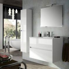 Meuble salle de bain 80 cm, 2 tiroirs, plan vasque porcelaine, blanc, Aliso