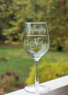 Etched Wine Glass, Naughty Nice Etched - 12oz, Etched Personalized , Christmas wine glass on Etsy, $15.00