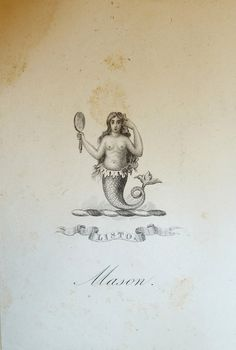 "dinglehoper sailorgil: "" Bookplate — Mermaid With Comb and Mirror "" …. Engraving, No Date, Probably 19th Century"