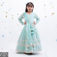 This Fayon Kids Girls Luckhnawi Blue Anarkali is an amazing ethnic outfit to adorn your baby girl this festive season. Your little doll will look like a princess in it. For more information, Whatsapp at Baby Birthday Dress, Birthday Dresses, Baby Dress, Girls Dresses Online, Dresses Kids Girl, Girl Outfits, Cool Kids Clothes, Kids Clothing, Baby Indian Costume