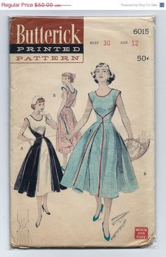 On Sale Vintage 1950s Butterick 6015 UNCUT Misses One Piece Quick and Easy Short Sleeve Wrap Dress Sewing Pattern Size 12