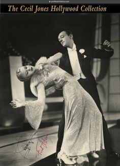 "Ginger Rogers and Fred Astaire - Signed oversize production photograph from Top Hat. (RKO, 1935) Vintage original RC 11 x 14 in. single-weight photographic print depicting the dancing duo from the iconic ""Cheek to Cheek"" sequence in Top Hat. Signed in the bottom left of image in black ink, ""Ginger Rogers"", and in red ink, ""Fred Astaire""."