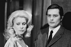Jean-Pierre Melville, Catherine Deneuve and Alain Delon on the set of Un flic Alain Delon, Catherine Deneuve Films, Agnes Varda, Melville, Wow Photo, Francois Truffaut, Hard Men, Violet Eyes, Famous Movies