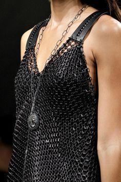 black leather and metal, black chain medallion necklace <3 - Bottega Veneta SPRING 2011 READY-TO-WEAR