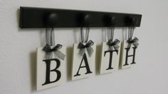 BATH Sign Personalized Handmade Hanging Letters Set Includes 4 Wooden Hooks and letters Painted Black. Restroom Wall Decor Home Decor Bathroom Wall Decor, Bathroom Signs, Bath Decor, Bathroom Ideas, Bathroom Inspiration, Hanging Letters, Wooden Letters, Bath Sign, Personalized Signs