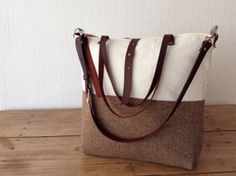 Hemp and herringbone wool messenger tote bag with leather handles in brown and off white