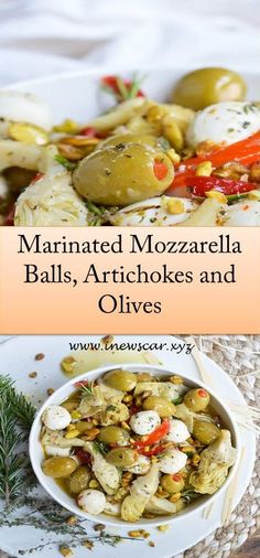 For a quick and easy appetizer, make these Marinated Mozzarella Balls, Artichokes and Olives. This appetizer recipe is full of garlic and fr. Marinated Mozzarella Balls Recipe, Marinated Olives, Quick And Easy Appetizers, Best Appetizers, Appetizer Recipes, Charcuterie And Cheese Board, Cheese Boards, Cocktail Party Food, Olive Recipes