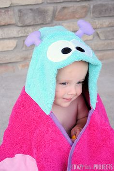 Butterfly Hooded Towel Tutorial! I love CrazyLittleProjects' hooded bath towels! :)