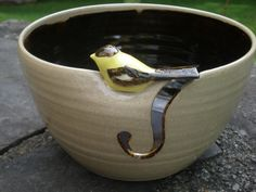 Little Bird Yarn Bowl Goldfinch Yarn Bowl Yarn Bowl by aaharrison, $46.00