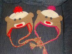crochet sock monkey hats