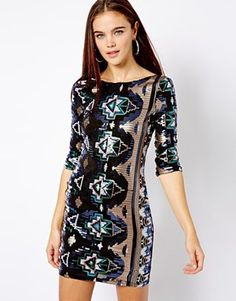 River Island | River Island Geo-Tribal Sequin Sexy Dress at ASOS