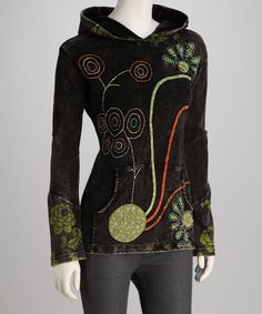 Take a look at this Black & Green Floral Hooded Pullover by Rising International