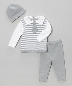 Tots Fifth Avenue Gray Stripe Tie Sweater Set - Infant by Tots Fifth Avenue #zulily #zulilyfinds