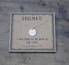 soulmate  .  silver or goldfill layering necklace  .  gift for girlfriend gift for wife  .  Personalized christmas gift by honeyverse on Etsy https://www.etsy.com/listing/266282251/soulmate-silver-or-goldfill-layering