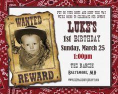 Cowboy Birthday Invitation- Cowboy Birthday Party Invitation- CowboyInvitations Printable Digital DiY. $10.95, via Etsy.