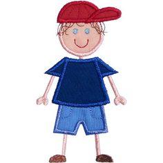 Stick Boy Cap Applique by HappyApplique.com