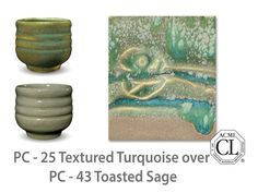 AMACO Potter's Choice layered glazes PC-43 Toasted Sage and PC-25 Textured Turquoise.