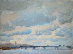 "Kyiv Cityscape. Paton's Bridge. oil painting on board 15 x 20 cm, (6"" x 8"")"