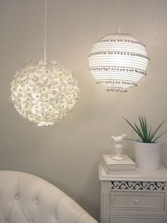 Paper lantern DIY lighting for dorm/apt.  Flowers or pom-poms.
