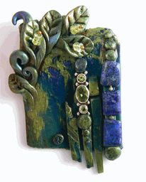 polymer with lapis, peridot, sterling silver #christifriesen