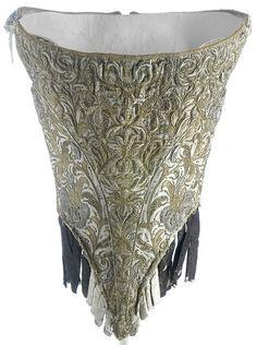 c. 1660 woman's bodice - beautiful metallic thread brocade.