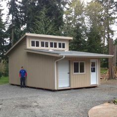 Look through our gallery of storage sheds, custom garages, and backyard buildings, and you'll find inspiration for what you can build on your property. Building A Tiny House, Tiny House Plans, Backyard Office, Backyard Buildings, Custom Garages, Garage Shop, Shed Storage, Plan Design, Barns
