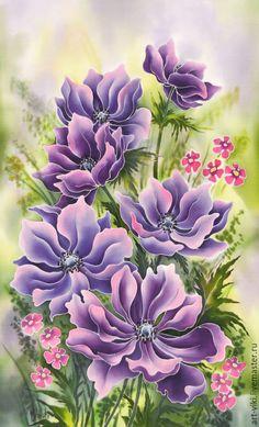 """Painting on silk / Купить Панно на шелке """"Анемоны"""" батик, ручная роспись - фиолетовый, панно батик, батик панно"""