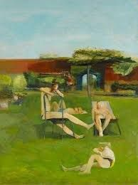 Four People Sunbathing - Michael Andrews, 1955 Oil on board, 122 x cm Your Paintings, Landscape Paintings, Landscape Art, Landscapes, Manchester Art, Paint Photography, Found Art, Art Uk, Figure Painting