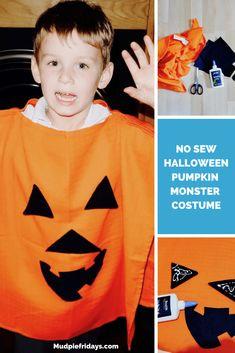 No Sew Halloween Pumpkin Monster Costume Last Minute Halloween Costumes, Halloween Fun, Monster Costumes, Halloween Traditions, Scary Monsters, Pumpkin Faces, Second Child, Mom Blogs, Halloween Pumpkins