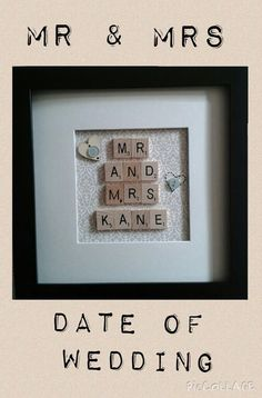 Wedding Gift. Date of Marriage. Scrabbles Letters in Frame. Look on Rell's Craft on Facebook.. Inbox if want order