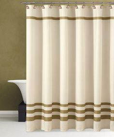 Take a look at this Beige & Gold Bleecker Shower Curtain by Duck River Textile on #zulily today! $21.99, regular 70.00.  PRODUCT DESCRIPTION: Powerful bathroom ballads deserve an equally bold backdrop. This stripe shower curtain features an elegant design that assimilates into most décor schemes, while the durable construction keeps moisture off the floor during those acrobatic air guitar solos.   70'' W x 72'' H 100% polyester Machine wash Imported