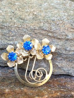 Blue Flower Brooch Triplet Flower Brooch Wedding by PassingTides