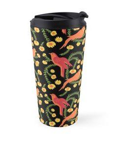 'Birds and peacefulness ' Travel Mug by SannaKallio Buy Birds, Art Deco Fashion, Travel Mug, How To Draw Hands, Mugs, Prints, Design, Tumblers, Mug