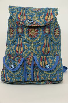Travel Backpack-Blue Floral Backpack-Fabric by BeyondTheSeaUS