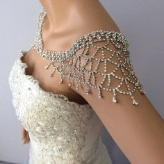 This necklace has a classic, regal elegance with modern materials. This Bridal Necklace featuring stunning Rhinestone spacers and Swarovski pearls. Wedding Necklace Set, Bridal Necklace, Wedding Jewelry, Shoulder Jewelry, Shoulder Necklace, Wedding Dress Accessories, Wedding Dresses, Diamond Cross Necklaces, Bling