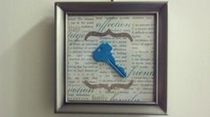 I got this idea from Pinterest and made it my own! :-) We just bought our first house and this is our first house key, painted and mounted in a 5x5 frame. For the background I used scrapbook paper :-)