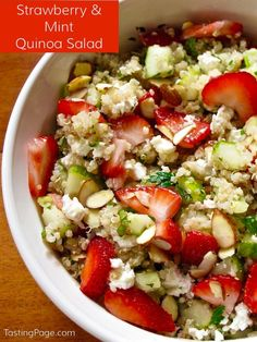 The fresh flavors of summer come together in this strawberry, mint, almond and cucumber quinoa salad - gluten free. Remove the cheese for a healthy vegan recipe | TastingPage