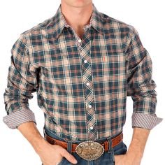 Men's Cinch Blue Plaid Modern Fit Buttondown Shirt