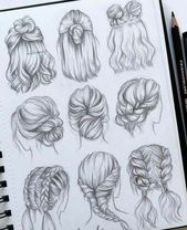 best cute drawings, anime drawings, flower drawing of techniques, great examples of drawing tutorial. Pencil Art Drawings, Cool Art Drawings, Art Drawings Sketches, Drawings Of Hair, Drawing Ideas, Drawing Drawing, Emoji Drawings, Drawing Poses, Drawing Tips