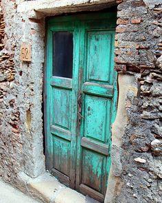 Turquoise Decor - Aqua Door Photograph - Sicily Italy Photo - Old Blue Door Photography - Rustic Turquoise - Stone Wood - Natural Farmhouse. $45.00, via Etsy.