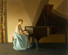 Intermezzo by Leonard Campbell Taylor Oil on canvas, x cm Collection: Merthyr Tydfil Leisure Trust Cyfarthfa Castle Museum & Art Gallery Piano Art, Piano Music, Museum Art Gallery, Music Painting, Art Uk, Western Art, Woman Painting, Your Paintings, Classical Music
