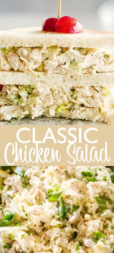 Classic Chicken Salad - This classic Chicken Salad recipe is easy to make and loaded with flavor. It's the perfect filling for sandwiches! You will love how easy this is to throw together! de ensalada de pollo facil y saludable Easy Salad Recipes, Chicken Salad Recipes, Dinner Recipes, Healthy Recipes, Chicken Salad Recipe With Relish, Chicken Salad Wraps, Chicken Salad Sandwiches, Original Chicken Salad Recipe, Chicken Salad Recipe Easy Healthy