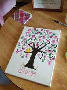 Owl tree baby shower alternative guest book