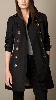 Burberry Brit Mid-Length Cotton Poplin Trench Coat