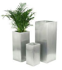 macetero cuadrado de zinc plateado macetas grandes terraza jardn planta maceta