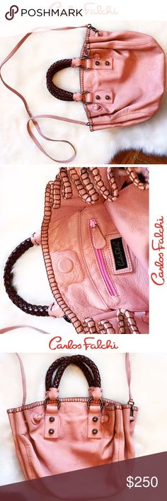 ❤️CARLOS FALCHI•B L U S H➰DRAWSTRING//Crossbody• • \\Carlos FALCHI/// Blush Pink Genuine leather cross body with genuine leather drawstring to close and magnetic snap ::: Limited Edition ::: From one of his original collections ::: Sold for $485 ::: Worn a few times ::: Made in the USA by Italian designer ::: Has some wear [see photos] just needs a little cleaning///no rips :: one of a kind• Carlos Falchi Bags Crossbody Bags