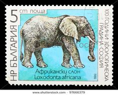 Bulgarian elephant stamp... print international vintage stamps on canvas for nursery art... done