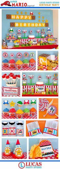 Super Mario inspirado cumpleaños fiesta por LucasPartyStudio